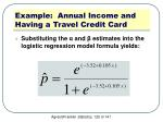 example annual income and having a travel credit card3