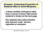 example estimating proportion of students who ve used marijuana