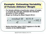 example estimating variability of female athletes weight1