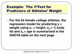 example the f test for predictors of athletes weight