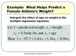 example what helps predict a female athlete s weight2
