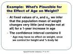 example what s plausible for the effect of age on weight1