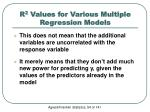 r 2 values for various multiple regression models3
