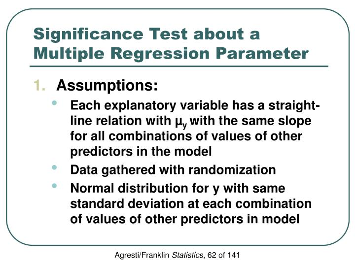Significance Test about a Multiple Regression Parameter