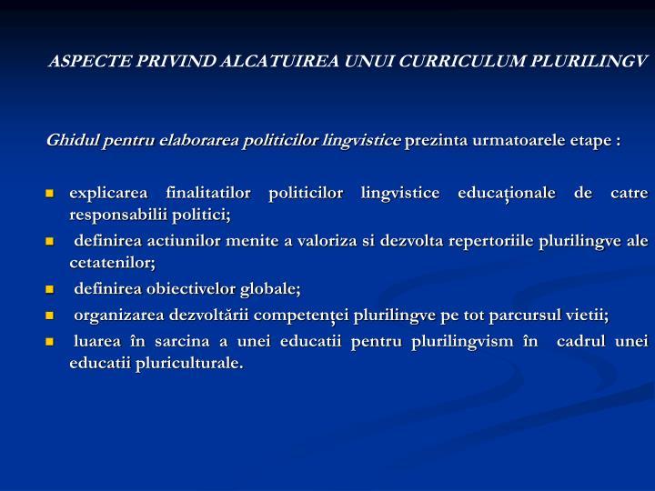 ASPECTE PRIVIND ALCATUIREA UNUI CURRICULUM PLURILINGV