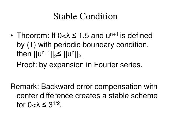 Stable Condition