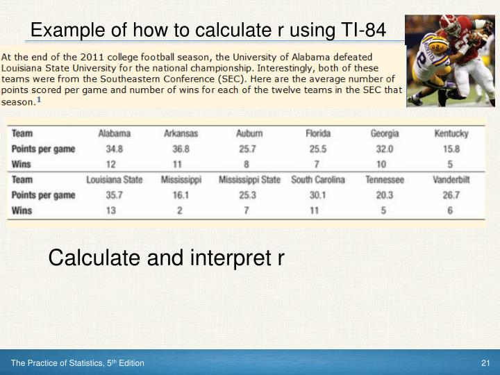 Example of how to calculate r using TI-84