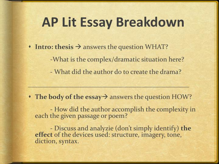 ap lit essay 2005 Ap lit terms - very comprehensive list with definitions ethan frome - general information  or ideas that are central to the meaning of the work choose a novel or a play that contrasts two such places write an essay explaining how the places differ, what each place represents, and how their contrast contributes to the meaning of the work.
