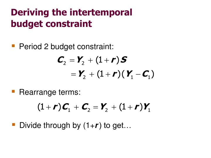 Period 2 budget constraint: