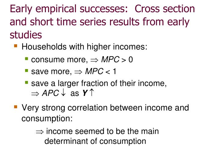 Early empirical successes:  Cross section and short time series results from early studies