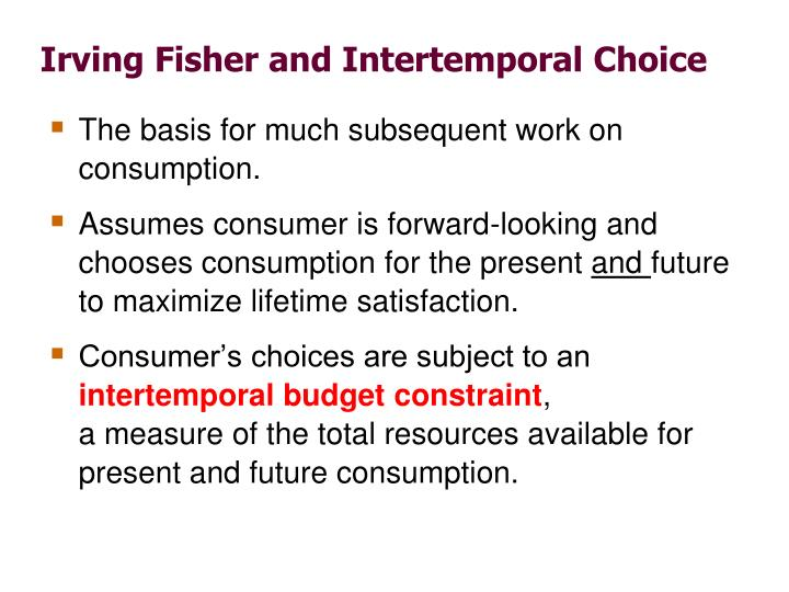 Irving Fisher and Intertemporal Choice