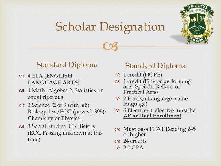 Scholar Designation
