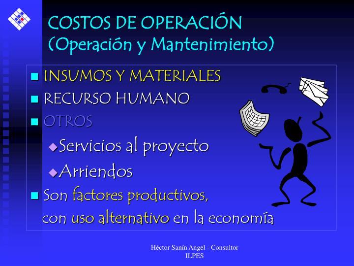 COSTOS DE OPERACIÓN