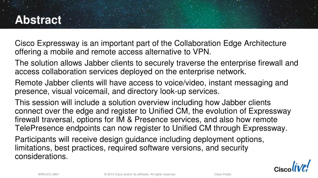 PPT - Cisco Expressway at the Collaboration Edge Design Session