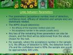 links between parameters