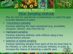 sampling methods cont other sampling methods