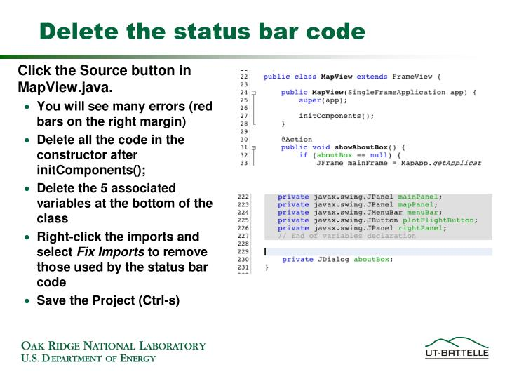 Delete the status bar code