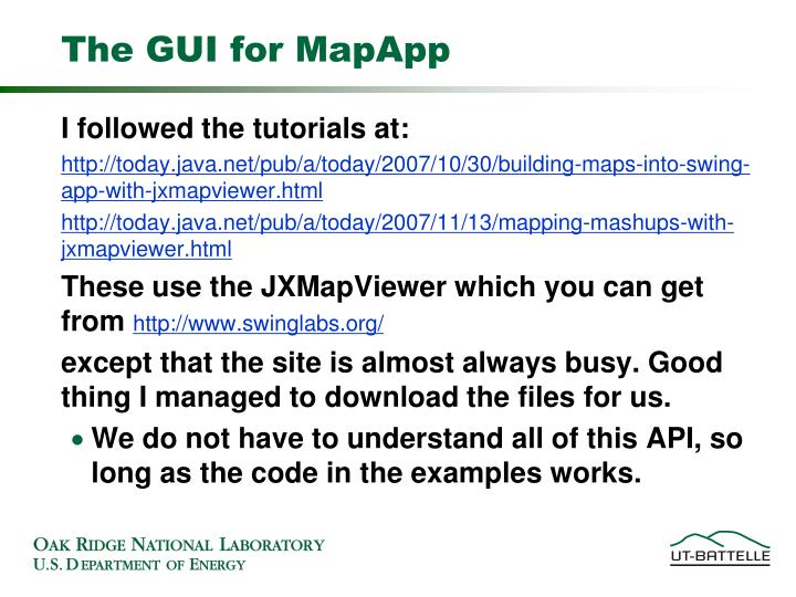 The gui for mapapp