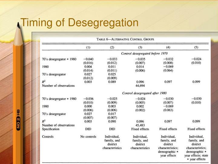 Timing of Desegregation