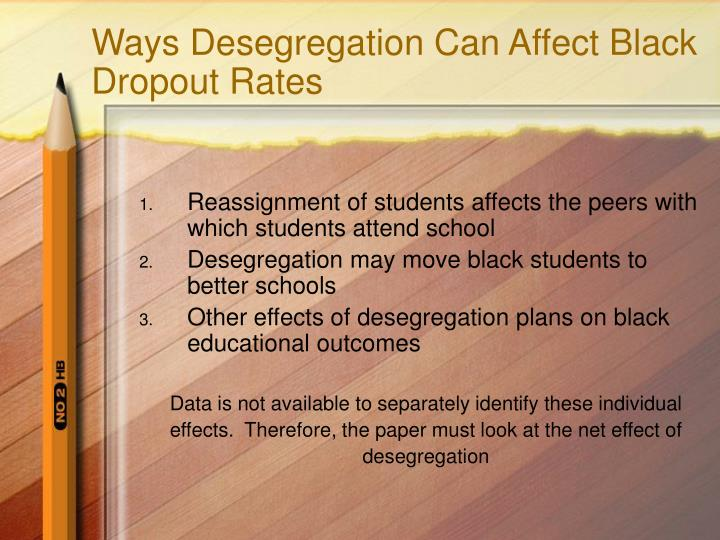 Ways Desegregation Can Affect Black Dropout Rates