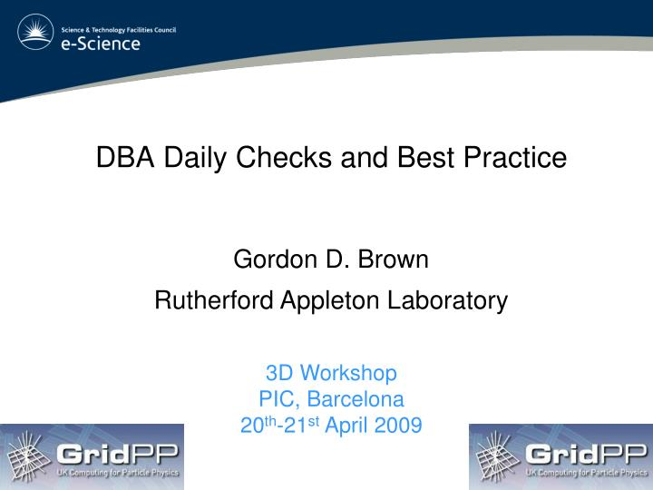 dba daily checks and best practice n.