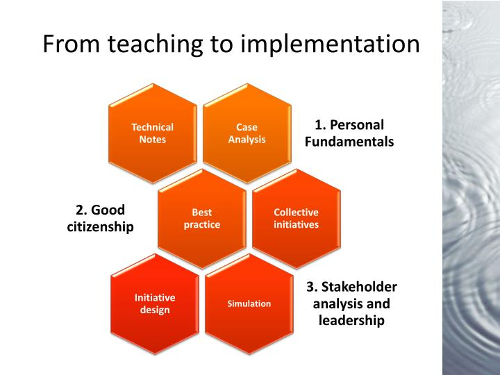 From teaching to implementation