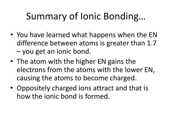 Summary of Ionic Bonding…