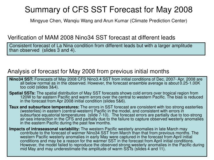 Summary of CFS SST Forecast for May 2008