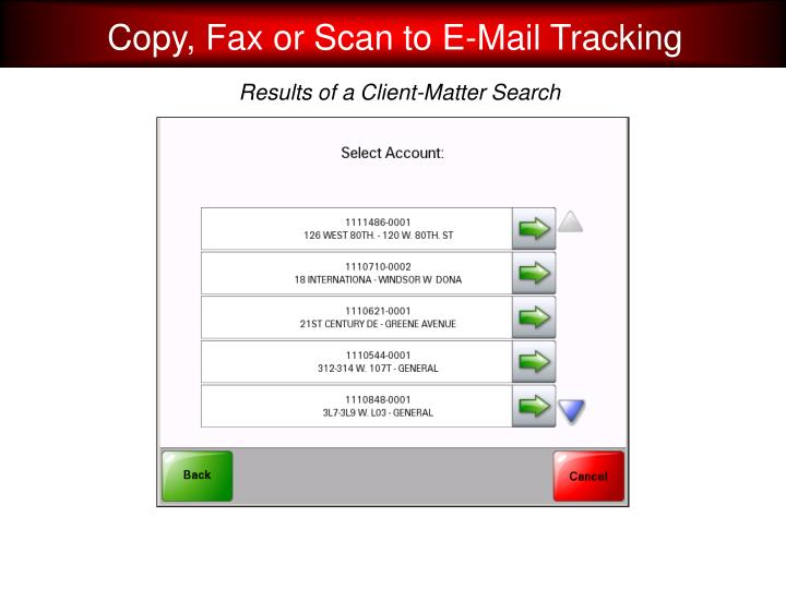 Copy, Fax or Scan to E-Mail Tracking