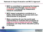 rationale for impact evaluation and mcc s approach