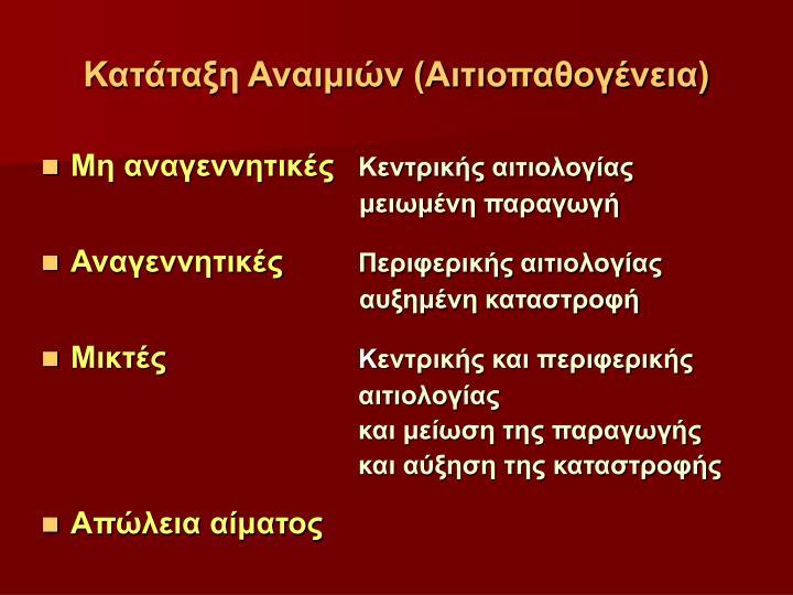 Κατάταξη Αναιμιών (Αιτιοπαθογένεια)
