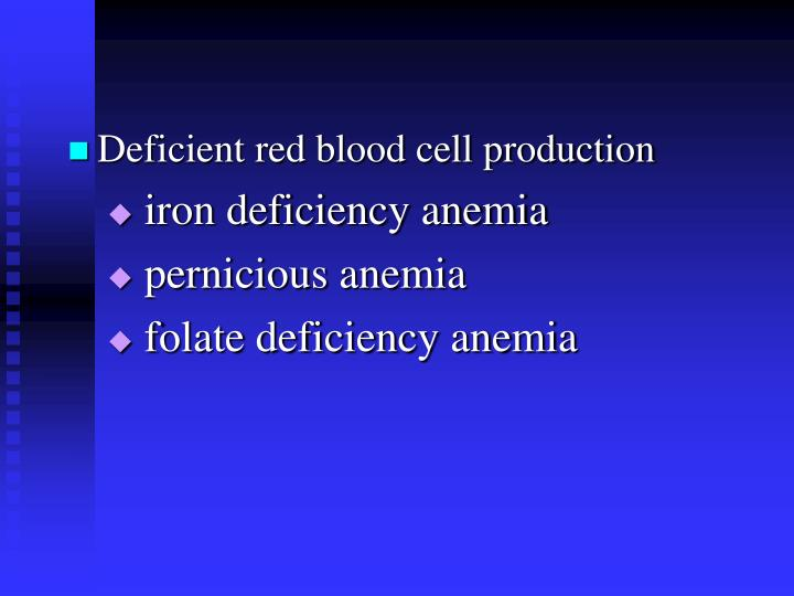 Deficient red blood cell production