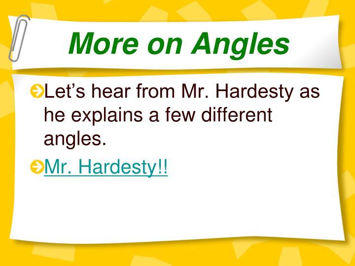 More on Angles