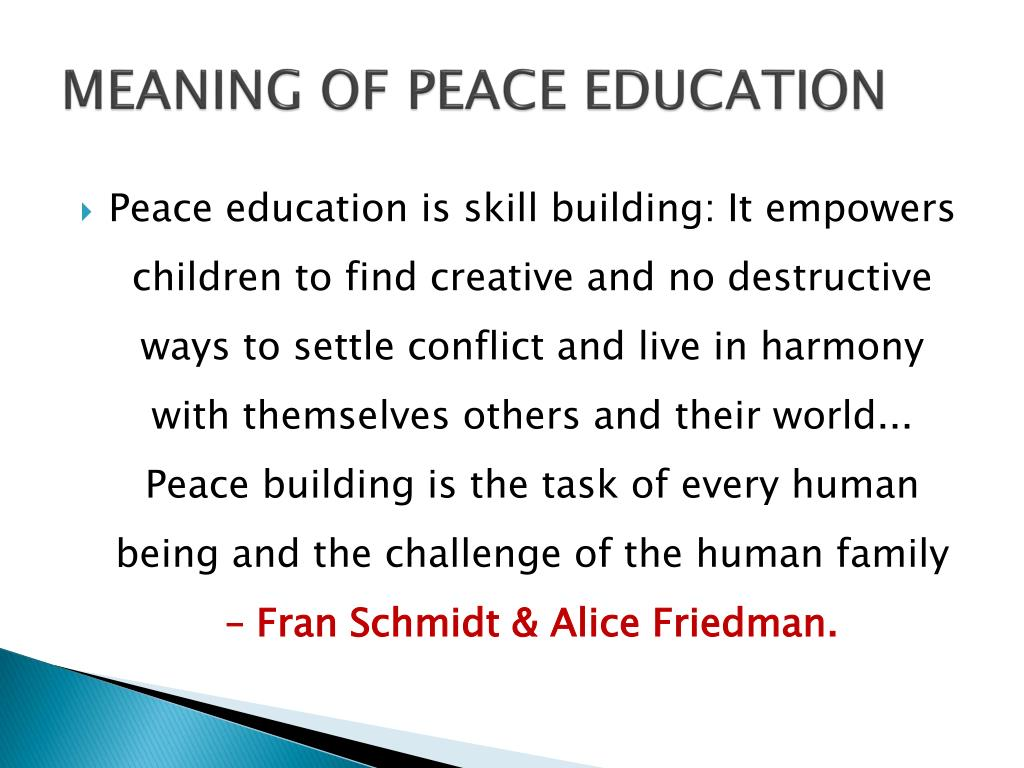 PPT - MEANING OF PEACE EDUCATION PowerPoint Presentation - ID:5642925