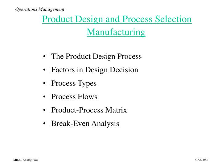 PPT - Operations Management Product Design and Process