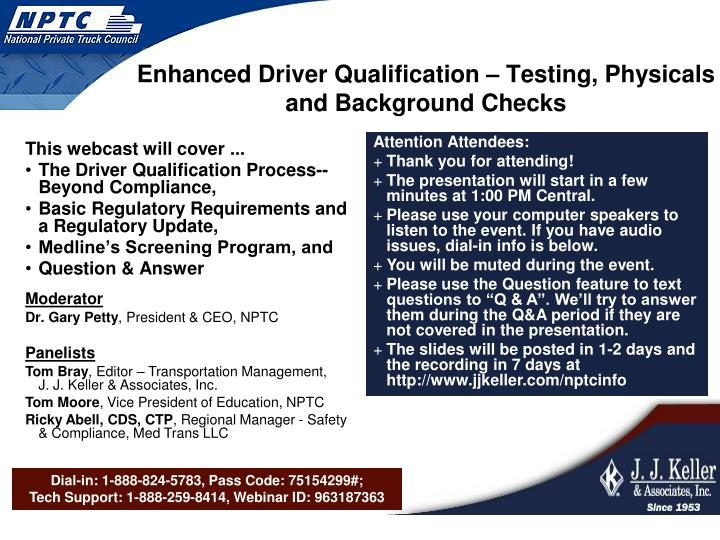 enhanced driver qualification testing physicals and background checks
