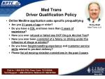 med trans driver qualification policy
