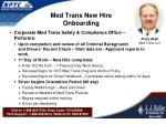 med trans new hire onboarding