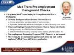 med trans pre employment background checks