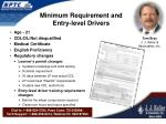 minimum requirement and entry level drivers