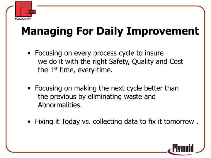 Managing For Daily Improvement