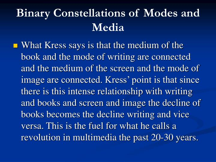 Binary constellations of modes and media