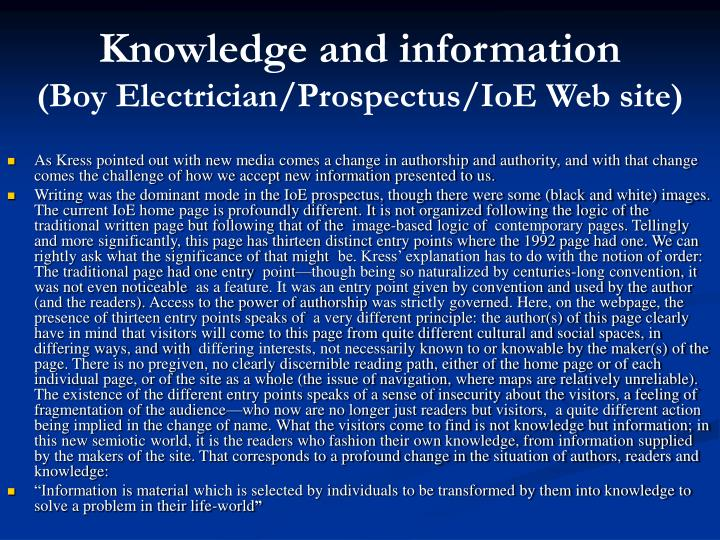 Knowledge and information