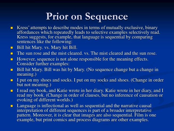 Prior on Sequence