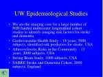 uw epidemiological studies
