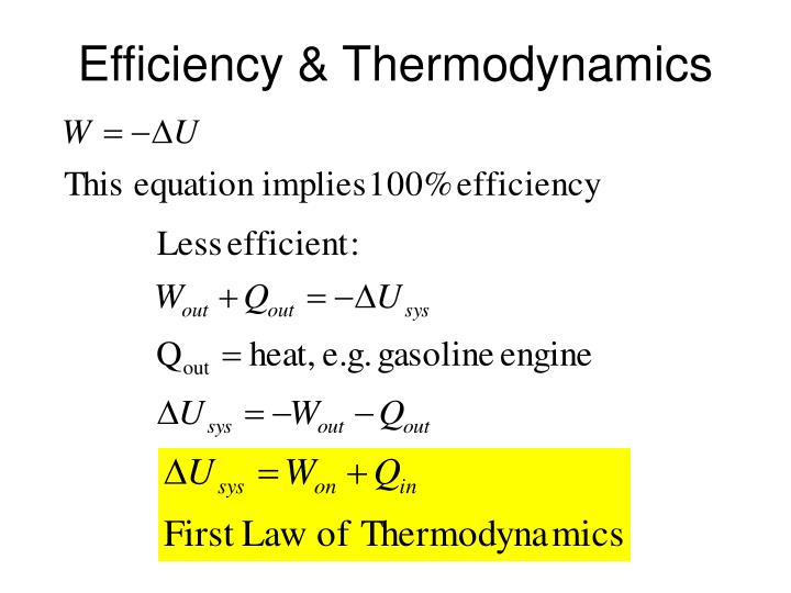 Efficiency & Thermodynamics