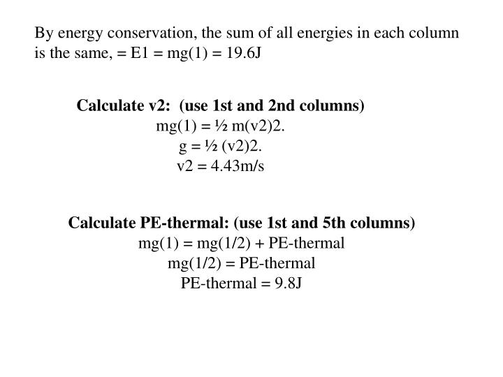 By energy conservation, the sum of all energies in each column is the same, = E1 = mg(1) = 19.6J