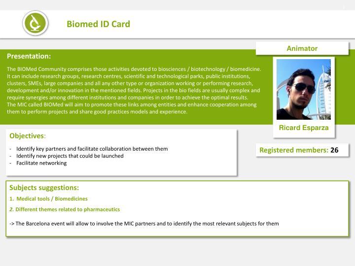 Biomed id card