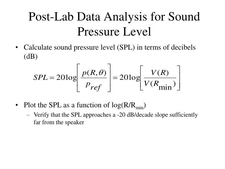 Post-Lab Data Analysis for Sound Pressure Level
