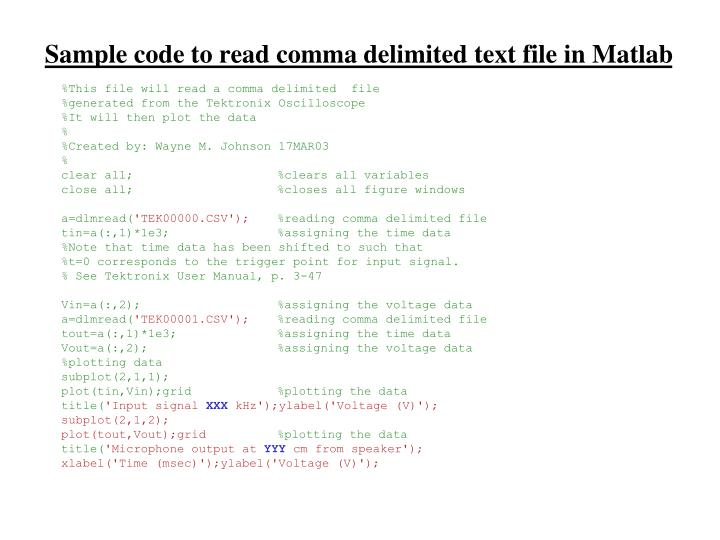 Sample code to read comma delimited text file in Matlab